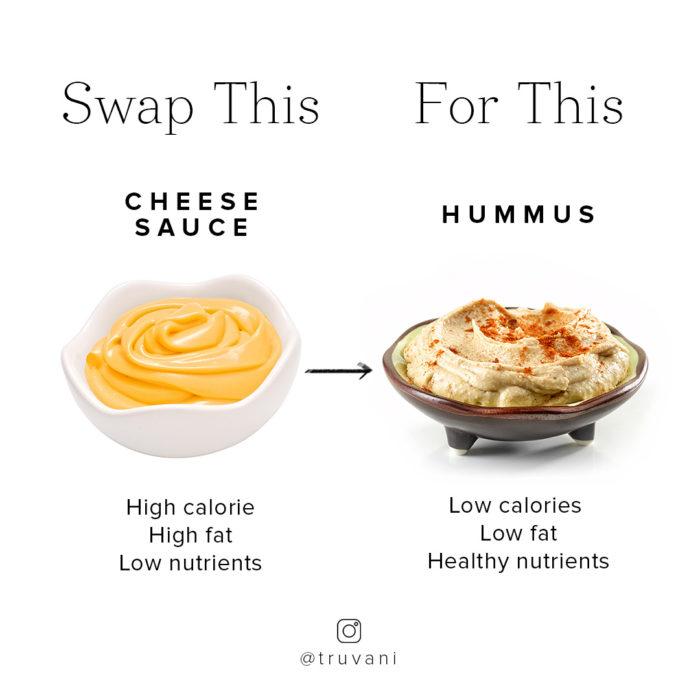 cheese sauce and hummus