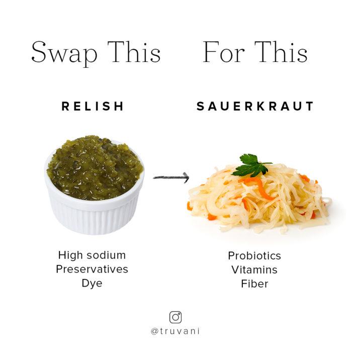 relish and sauerkraut