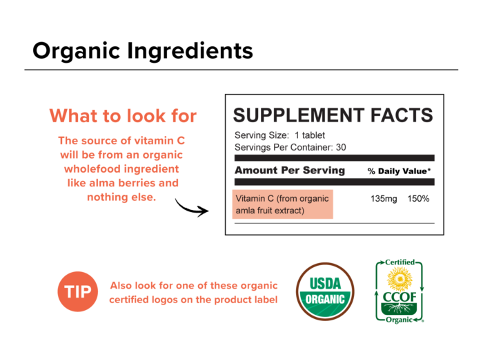 Organic Vitamin C Ingredients Label