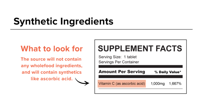 Synthetic Vitamin C Ingredient Label